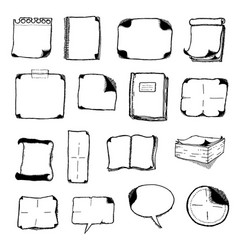 Note pads speech bubbles and office icons vector