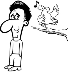 Man and bird cartoon coloring book vector