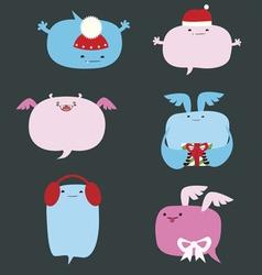 Cute winter monsters speach bubbles designs vector image