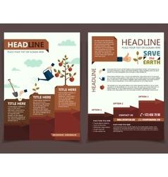 Planting tree corporate brochure flyer vector image