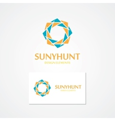 Logo with abstract sun vector