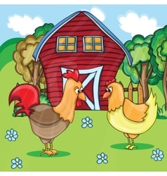 Rooster and chickens on the bacgroung of rural vector