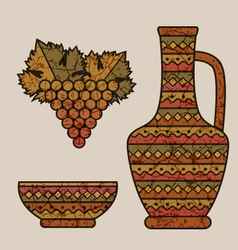 Styled wine jug bowl and grape vector
