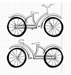 Set of doodle bicycles excellent vector