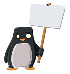 worried penguin with a sign vector image