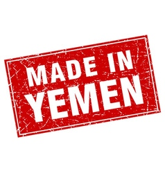 Yemen red square grunge made in stamp vector