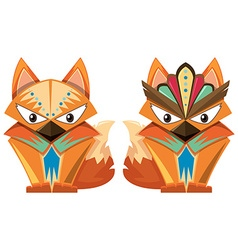 Craft design with wolf and fox vector