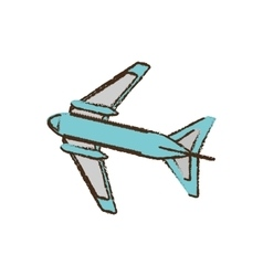 Airplane travel business vacation color sketch vector