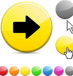Arrow glossy button vector