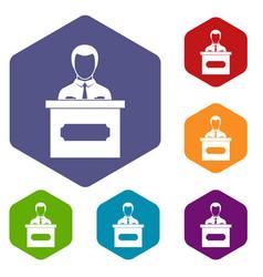 Businessman giving presentation icons set hexagon vector