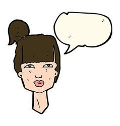 Cartoon female head with speech bubble vector