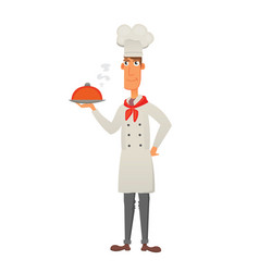 Chef in restaurant cute cook in uniform holding vector