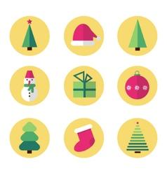 Christmas flat design icon set vector image vector image