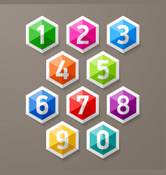 Diamond shaped glass numbers set vector