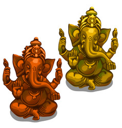 Figurines of the indian deity of ganesha vector