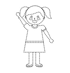 Happy girl with pigtails kid child icon image vector
