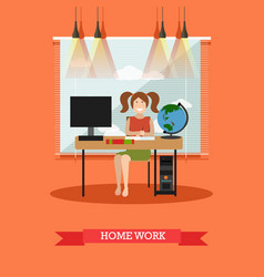 homework concept in flat style vector image vector image