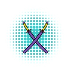 Japanese kendo sword icon comics style vector