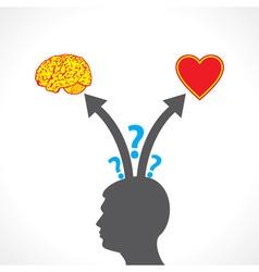 men confuse between brain and heart vector image