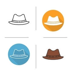 Mens hat flat design linear and color icons set vector