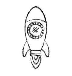 monochrome blurred silhouette of space rocket vector image vector image