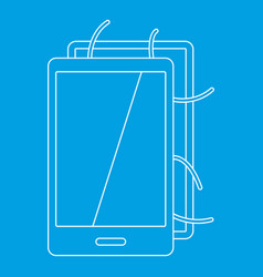 opened phone icon outline style vector image