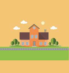 Orange house vector