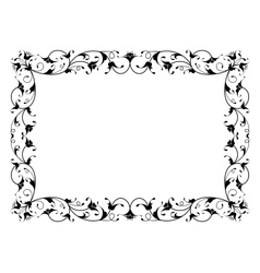 Oriental floral ornamental decorative black frame vector