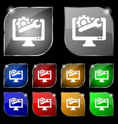 Repair computer icon sign set of ten colorful vector