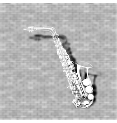 saxophone on a brick wall background vector image vector image