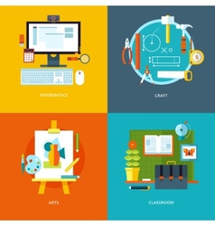 school and education icons set for web design and vector image