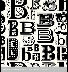 seamless vintage pattern letter B vector image vector image