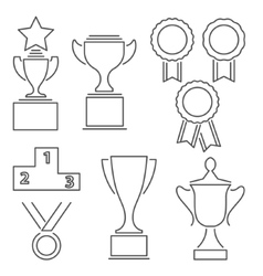 Set of award success and victory line icons vector