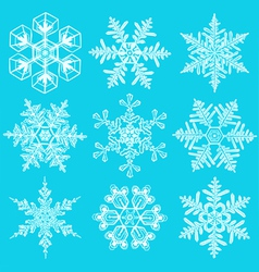 Set of crystal snowflakes elements for designers vector image
