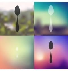 Spoon icon on blurred background vector