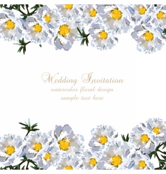 Wedding invitation delicate aster flowers card vector