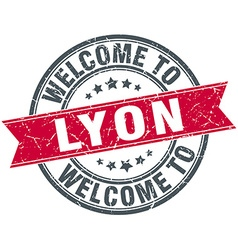 Welcome to lyon red round vintage stamp vector