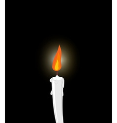 White candle on black background grief mourning vector