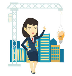 Woman pointing at idea bulb hanging on crane vector