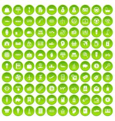 100 economy icons set green circle vector