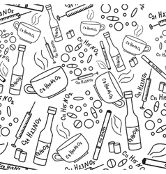 Seamless pattern with addiction and drugs vector