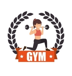 Gym sport fitness girl weight label vector