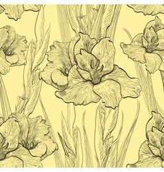 Hand-written seamless pattern with gladiolus vector