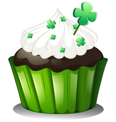 A chocolate cupcake for st patricks day vector