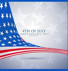 American flag in wave style 4th of july background vector