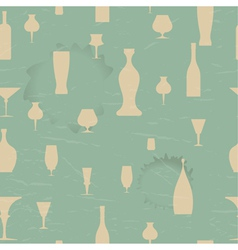 Seamless pattern with silhouettes of the dishes vector image