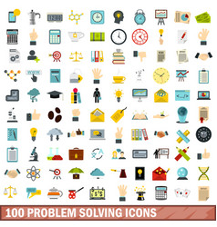 100 problem solving icons set flat style vector