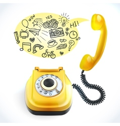 Telephone old doodle vector