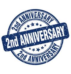 2nd anniversary blue grunge stamp vector