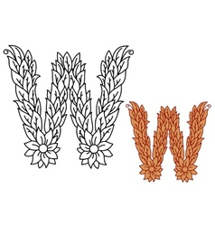 Uppercase letter w in a foliate font vector